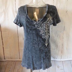 4-4-20 VOCAL Gray Ribbed Bling S/S Shirt L/XL